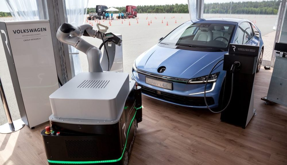 Volkswagen showed their electric research car and mobile